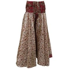 Women's Skirt Maroon Floral Printed Vintage Sari Gypsy Long Skirts ($18) ❤ liked on Polyvore featuring skirts, ankle length skirt, floral print maxi skirt, gypsy skirt, floral print skirt and floral skirt