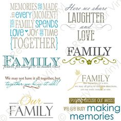 Family 2 (8 designs) | AI, EPS, SVG, PNG, JPG files for Vinyl Cutters, Photographers and Digital Scrapbooking | Ready For Vinyl