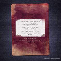 Modern Wedding Invitation Template Printable Unique Custom Card Crimson Red Peach Plum Maroon Brown Blue Watercolor Typewriter Vintage