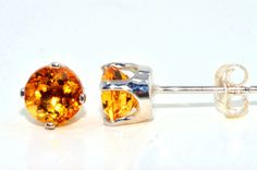 5mm Genuine Citrine Stud Earrings in by ElizabethJewelryInc, $24.99