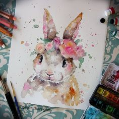 The beautiful watercolor paintings of animals and plants by Sally Walsh Design - Rincevent Insolite, Art, Autres - Aquarell Malen Watercolor Portrait Painting, Painting & Drawing, Watercolor Art, Bunny Painting, Watercolour Drawings, Watercolor Paintings Of Animals, Bunny Drawing, Butterfly Watercolor, Drawing Drawing