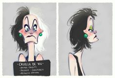 Villain Mugshots Cruella DeVil by HaaappyAccidents on Etsy
