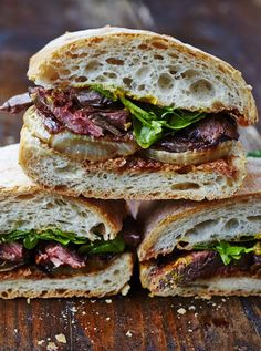 Next Level Steak & Onion Sandwich.  Made these. Used arugula. I would reduce amt of vinegar which I believe was 4oz after conversion.  The brown sugar was less than 2oz.  Meat was perfect and would make this again.