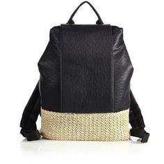 Urban Originals Dune Diamond Faux Leather & Straw Backpack ($65) ❤ liked on Polyvore featuring bags, backpacks, apparel & accessories, black, top handle bag, woven straw bag, day pack backpack, rucksack bag and faux leather backpack