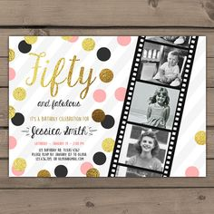 Fifty and Fabulous Birthday Party Invitation Gold Glitter Gold Black White… 50th Birthday Invitations, Creative Wedding Invitations, Wedding Invitation Cards, Birthday Celebration, Birthday Parties, Carton Invitation, Fabulous Birthday, Diy Party Decorations, Birthday Balloons