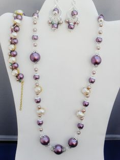 3 piece OOAK Swarovski purple lilac crystal pearls by ElmsRealm, $40.00