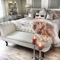 45 beautiful glam room ideas for your home inspirations - Glam Room - Beauty Room Glam Bedroom, Home Bedroom, Bedroom Furniture, Bedroom Decor, Bedroom Ideas, Chaise Lounge Bedroom, Glam Bedding, Chaise Chair, Pretty Bedroom
