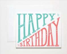 Screenprinted Happy Birthday Card by The Paper Cub Co.