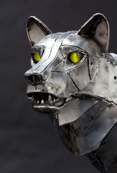 """Mechanical Wolf"" the latest sculpture by Andrew Chase."