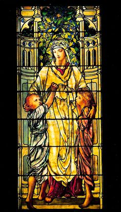 Tiffany Glass. This shows Jesus Christ welcoming the children to come unto Him.