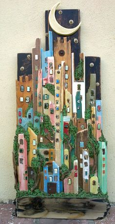 La notte a colori della citta' verde, Sivia Logi Beach Crafts, Home Crafts, Diy And Crafts, Nature Crafts, Driftwood Projects, Driftwood Art, Pallet Crafts, Pallet Art, Wooden Art