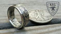 Walking Liberty Half Dollar Coin Ring 90% by BFGCustomCoinRings