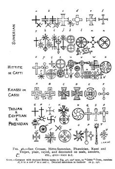 Sun Crosses, Hitto-Sumerian, Phoenician, Kassi and Trojan, plain, rayed and decorated on seals, amulets, etc., 4000-1000 B.C.