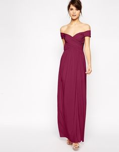 Buy ASOS PETITE Bardot Ruched Maxi Dress at ASOS. Get the latest trends with ASOS now. Mismatched Bridesmaid Dresses, Burgundy Bridesmaid Dresses, James Bond Dresses, Evening Dresses, Prom Dresses, Formal Dresses, Girl Fashion, Fashion Outfits, Fashion Clothes