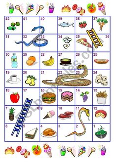The students play snakes and ladders (up the ladders, down the snakes), when they land on a food item they have to say the name. If they get it wrong, they go back to the square they were in; if not they stay on that square and its the next player´s turn. English Worksheets For Kids, English Games, English Grammar, Preschool Art Activities, Hands On Activities, Numbers Kindergarten, School Games, Serpent, Apps
