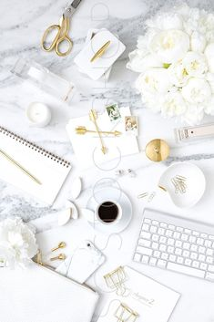 Elevate your brand with styled stock photography for creative business owners. Take 40% off during the July 4th weekend sale. White on Marble Desk Flat Lay Collection #08
