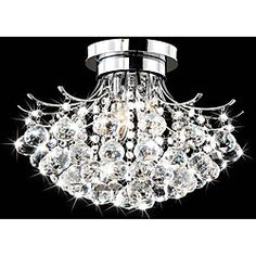 - Give a dark room the bright light that you crave with this elegant chrome/crystal chandelier. The light fixture mounts directly over your existing ceiling light, and it works with three bulbs to give you enough lighting for reading and entertaining. Chandelier Ceiling Lights, Hanging Lights, Crystal Chandeliers, Nursery Chandelier, Ceiling Fans, Faceted Crystal, Clear Crystal, Crystal Ball, Home Interior