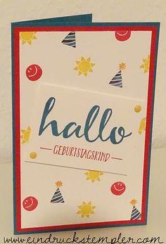 Stampin Up! Lagunenblau - Glutrot- Hallo - Hello - Geburtstagskind - Glutrot - Süße Pünktchen - Stampin Write & Marker - www.eindruckstempler.com; www.facebook.com/eindruckstempler
