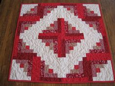 Log Cabin Quilted Table Topper by Quiltedhearts5 on Etsy