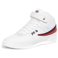 Fila F-13 Sneakers ($66) ❤ liked on Polyvore featuring shoes, sneakers, laced up shoes, flat lace-up shoes, flat shoes, fila sneakers and rubber sole shoes