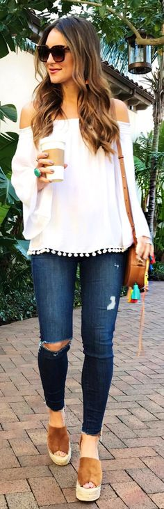 lovely spring outfits /  White Off Shoulder Blouse / Ripped & Destroyed Skinny Jeans / Brown Platform Wedge / Brown Leather Shoulder Bag