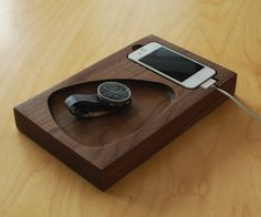 Furniture, Fabulous woo docking station android and smartphone gadget acessories functional catchall wooden tray reclaimed walnut material carved out bowl wallet keys watch jewelry holder home furniture: Cool Wood iPhone And Android Docking Station Diy Phone Stand, Tablet Stand, Cnc, Wood Nightstand, Docking Station, Charging Stations, Phone Holder, Charger Holder, Phone Charger