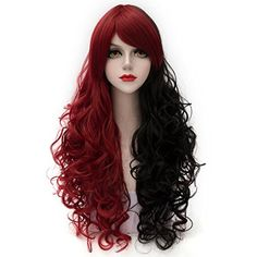 Cosplayvoice Fashion Red Mixed Black Long 80CM Curly Lolita Cosplay Wig * Check this awesome product by going to the link at the image.