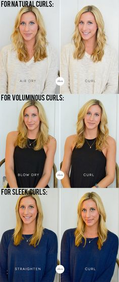 To make the most of your curling iron's abilities, dry your hair according to the curls you want. | 21 Extremely Useful Curling Iron Tricks Everyone Should Know