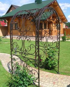 Garden Pavers, Garden Arches, Front Courtyard, Garden Design, House Design, Iron Decor, Iron Gates, Pool Houses, Outdoor Projects