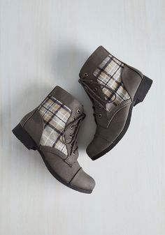 Hike Through Hollywood Bootie in Grey Plaid, @ModCloth