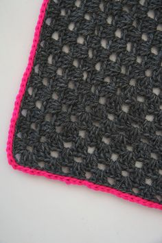 Granny square blanket with neon pink by PieceOfaCookie on Etsy