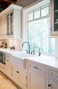 Exceptional Kitchen Remodeling Choosing a New Kitchen Sink Ideas. Marvelous Kitchen Remodeling Choosing a New Kitchen Sink Ideas. Kitchen Sink Window, Kitchen Sink Design, Kitchen Cabinets Decor, Farmhouse Kitchen Cabinets, Kitchen Cabinet Colors, Farmhouse Style Kitchen, Modern Farmhouse Kitchens, Home Decor Kitchen, New Kitchen