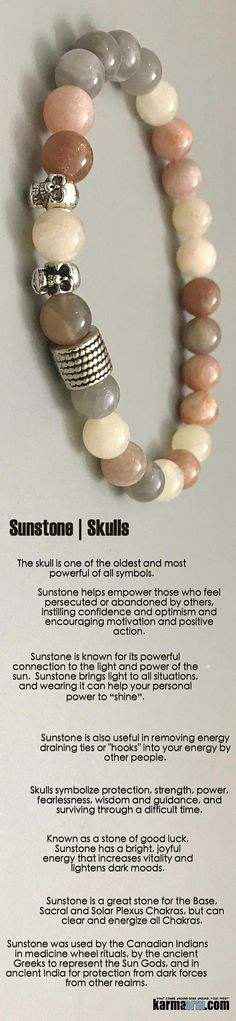 "EMPOWER | #Sunstone brings #light to all situations, and wearing it can help your personal #power to ""shine""..#Skulls #courage#Beaded #Bracelet #Bracelets #Buddhist #Chakra #Charm #Crystals #Energy #gifts #gratitude #Handmade #Healing #Jewelry #Kundalini #LawOfAttraction #LOA #Love #Mala #Meditation #Mens #prayer #pulseiras #Reiki #Spiritual #Stacks #Stretch #Womens #Yoga #YogaBracelets"