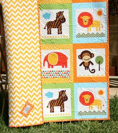 Baby Quilt Animal Patchwork Safari Zoo Jungle Nursery Crib Bedding Cot Blanket by SunnysideDesigns2, $149.00