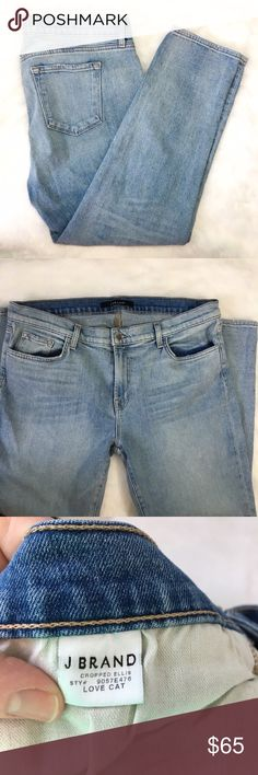 "J Brand Cropped Ellis Love Cat Light Wash Denim Grab these NOW! Lighter washes are great for warmer weather and J Brand is one of the best brands out there! Exceptionally well made, these will last forever without bagging, sagging, or giving up! Excellent condition, no flaws. Rise 10"", inseam 25 1/2"". J Brand Jeans Ankle & Cropped"