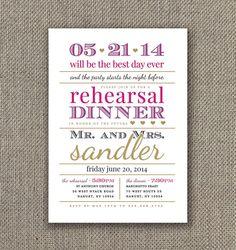 Modern Gold Rehearsal Dinner Invitation. DIY Invite