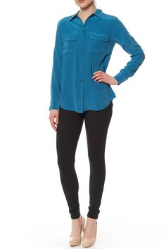 Beautiful Signature Silk blouse from Equipment in Amulet blue. Long sleeves with a collar and two front pockets.  Signature Silk Blouse by Equipment. Clothing - Tops - Long Sleeve Clothing - Tops - Blouses & Shirts Manhattan New York City