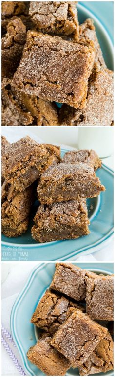 Cinnamon Blondies!  The ULTIMATE soft & chewy cinnamon blondie!  Easy dessert recipe.