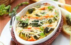 Auflauf mit Lachs, Brokkoli und Mozzarella