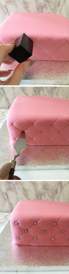 How to Create a Super Simple Quilted Effect - 17 Amazing Cake Decorating Ideas, . How to Create a Super Simple Quilted Effect - 17 Amazing Cake Decorating Ideas, Tips and Tricks That'll Make You A Pro Cake Icing, Fondant Cakes, Eat Cake, Cupcake Cakes, Fondant Tips, Buttercream Frosting, Simple Fondant Cake, Icing Tips, Party Cupcakes
