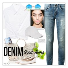 """""""Tear it Up: Distressed Denim"""" by mcheffer ❤ liked on Polyvore featuring Yves Saint Laurent, T By Alexander Wang, Illesteva, Mark & Graham, Jimmy Choo and distresseddenim"""