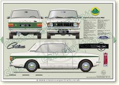 Ford Cortina Lotus Mk2 1967-70 classic car portrait print