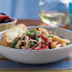 Chicken-Penne Salad with Green Beans - Healthy Pasta Salad Recipes - Cooking Light Healthy Pastas, Healthy Recipes, Healthy Lunches, Yummy Recipes, Healthy Eating, Healthy Foods, Diet Recipes, Chicken Penne, Penne Pasta