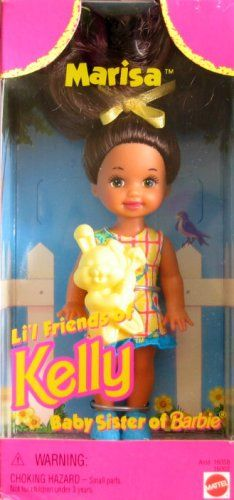 """Barbie MARISA Li'l Friend of KELLY Doll (1996). Marisa Li'l Friend of Kelly, Baby Sister of Barbie is a 1996 Mattel production. Included: Marisa Doll approx. 4.5"""" tall, hair Bow, Dress, Shoes & Rabbit. See detailed information below in Product Description. WARNING: Choking Hazard-Small Parts; for ages 3+ years. Great for any collection, as a gift or just for fun play!."""