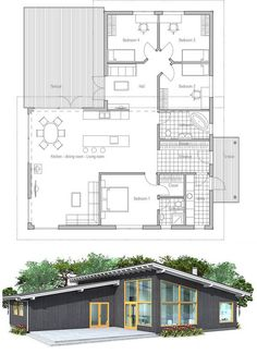 Modern house plan with high ceilings. Three bedrooms and separate TV area for kids. Simple shapes and lines, affordable building budget.