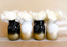 Kate Spade Party Decor, Birthday Party Centerpieces, Baby Shower Centerpieces, Black and White Decor, Gold Mason Jars