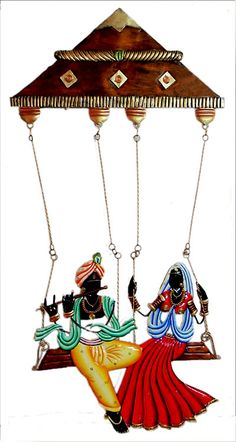 Radha Krishna on a Swing - Iron Craft Wall Hanging for Home Decor