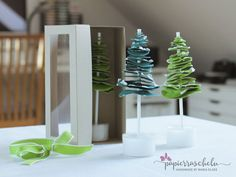 Place Cards, Place Card Holders, Handmade, Paper, Small Trees, Christmas Tree, Packaging, Hand Made, Handarbeit