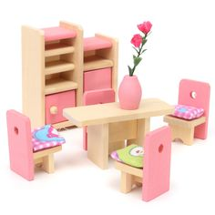 Jogo de madeira da boneca brinquedos para crianças da família casa em miniatura Kit Acessórios móveis