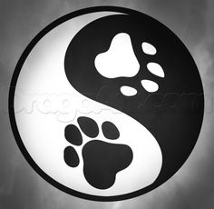 how to draw yin yang paws